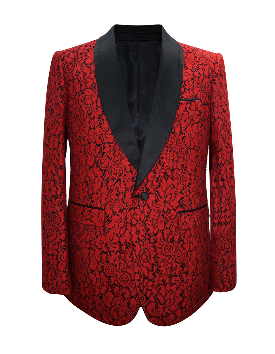 Mens Floral Pattern Lace Blazer in Red & Black- Wedding - Prom