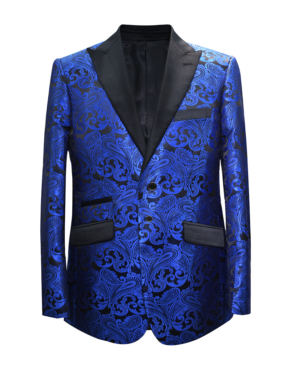 Mens Paisley Floral Tuxedo Jacket in Royal Blue & Black