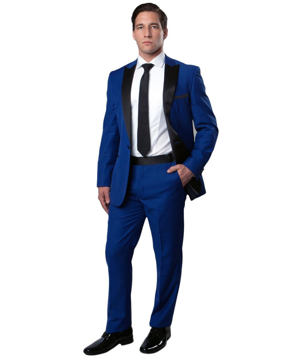 Mens Modern Fit Peak Tuxedo in Royal Blue