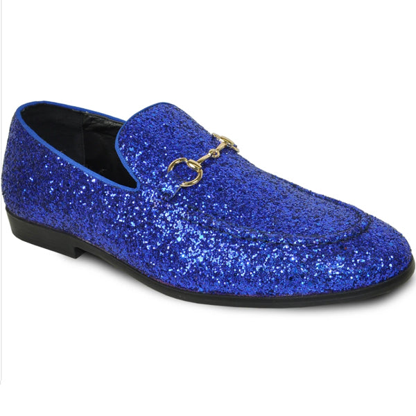 Mens Shiny Sparkly Glitter Prom Slip On Dress Shoes in Royal Blue