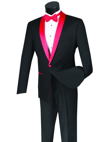 Mens 1 Button Contrast Shawl Prom Tuxedo in Black & Red