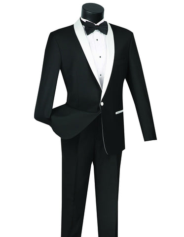 Mens 1 Button Contrast Shawl Tuxedo in Black & White