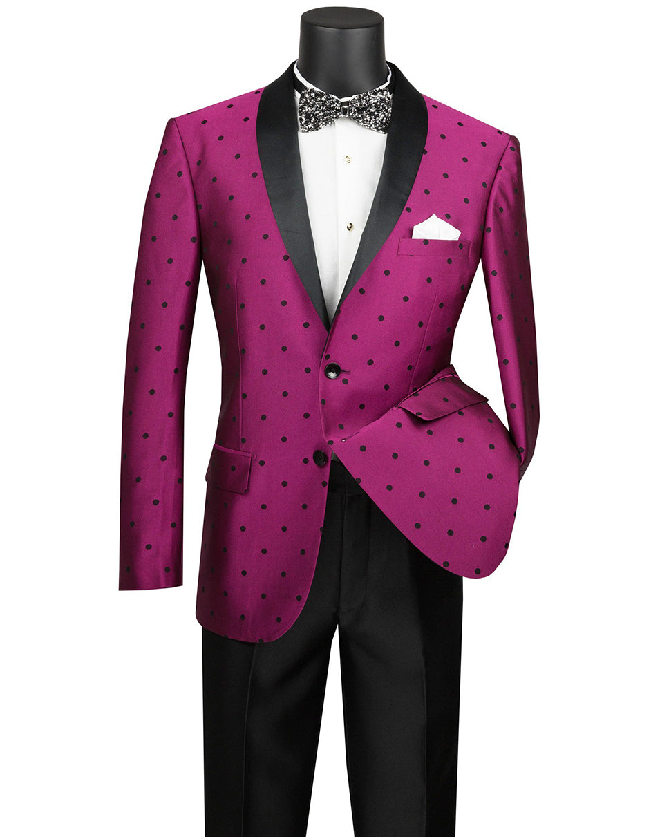 Mens 2 button Polka Dot Shawl Lapel Tuxedo in Fuchsia