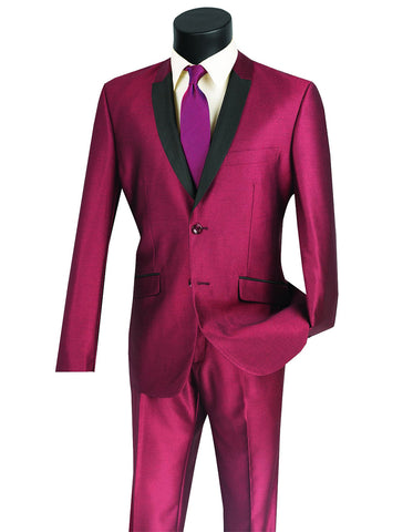 Mens 2 Button Shawl/Peak Hybrid Sharkskin Tuxedo in Burgundy