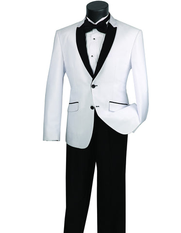 Mens 2 Button Shawl/Peak Hybrid Sharkskin Tuxedo in White