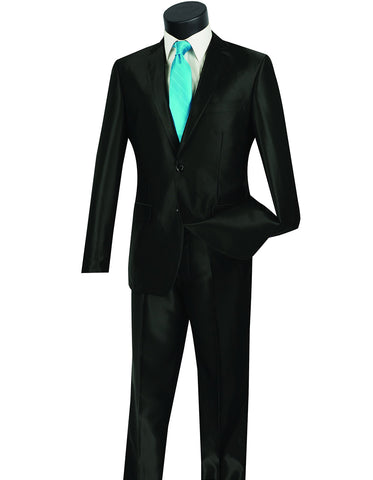 Mens Modern Fit Shiny Sharkskin Suit in Black