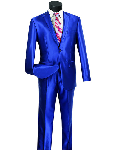 Mens Modern Fit Shiny Sharkskin Suit in Royal Blue