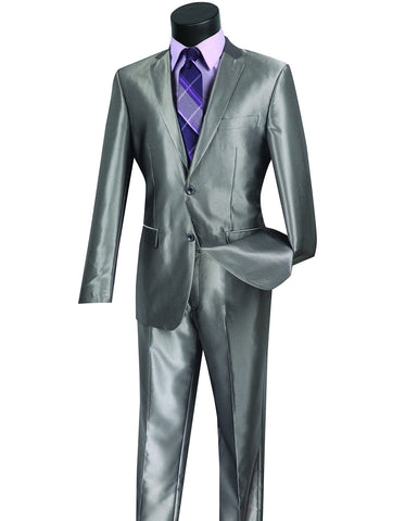 Mens Modern Fit Shiny Sharkskin Suit in Silver Grey