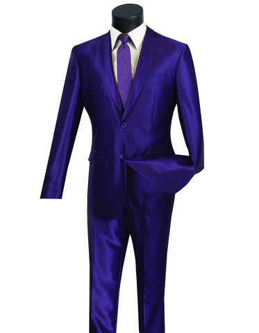 Mens Modern Fit Shiny Sharkskin Suit in Purple