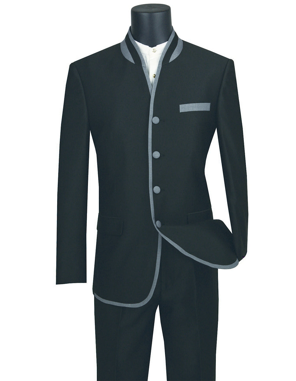Mens 4 button Mandarin Tuxedo in Sharkskin Black with Grey Trim