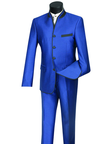 Mens 4 button Mandarin Tuxedo in Sharkskin Royal Blue with Black Trim