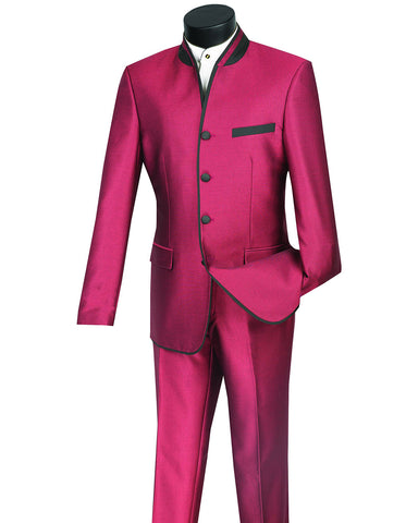 Mens 4 button Mandarin Tuxedo in Sharkskin Burgundy with Black Trim