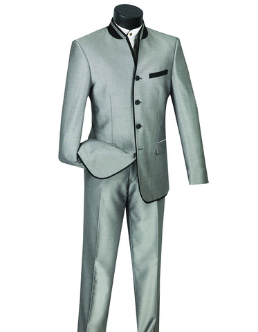 Mens 4 button Mandarin Tuxedo in Sharkskin Silver Grey with Black Trim