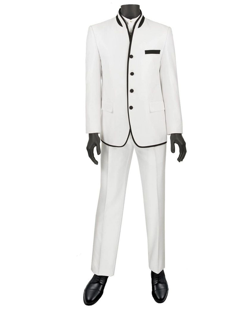 Mens 4 button Mandarin Tuxedo in Sharkskin White with Black Trim