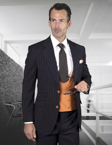Mens Modern Fit Wool 2 button Suit with Scoop Neck Vest in Navy Blue
