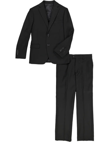 Boys 2 Button Vested 5PC Suit with Shirt and Tie in Black