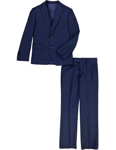 Boys 2 Button Vested 5PC Suit with Shirt and Tie in Cobalt Blue