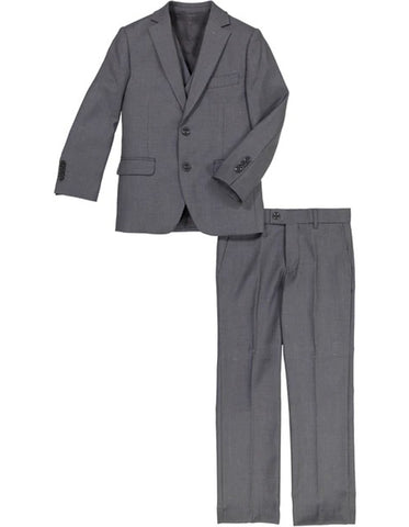 Boys 2 Button Vested 5PC Suit with Shirt and Tie in Charcoal Grey
