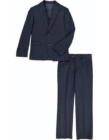 Boys 2 Button Vested 5PC Suit with Shirt and Tie in Navy Blue