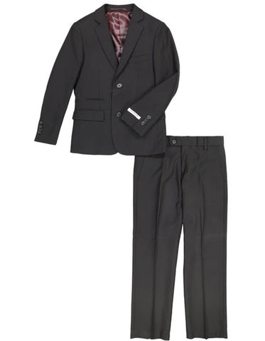 Boys 2 Button Wool Blend Suit in Black