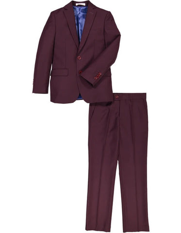 Boys 2 Button Wool Blend Suit in Burgundy