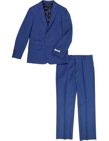 Boys 2 Button Wool Blend Suit in Cobalt Blue