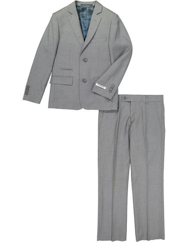 Boys 2 Button Wool Blend Suit in Charcoal Grey