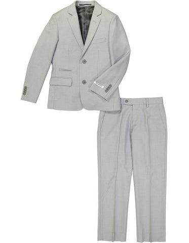 Boys 2 Button Wool Blend Suit in Light Grey