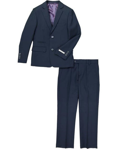 Boys 2 Button Wool Blend Suit in Navy Blue