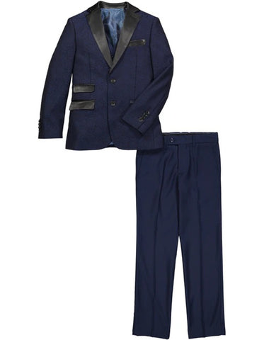 Boys 2 Button Vested Brocade Print Tuxedo in Navy with Black Satin Lapel