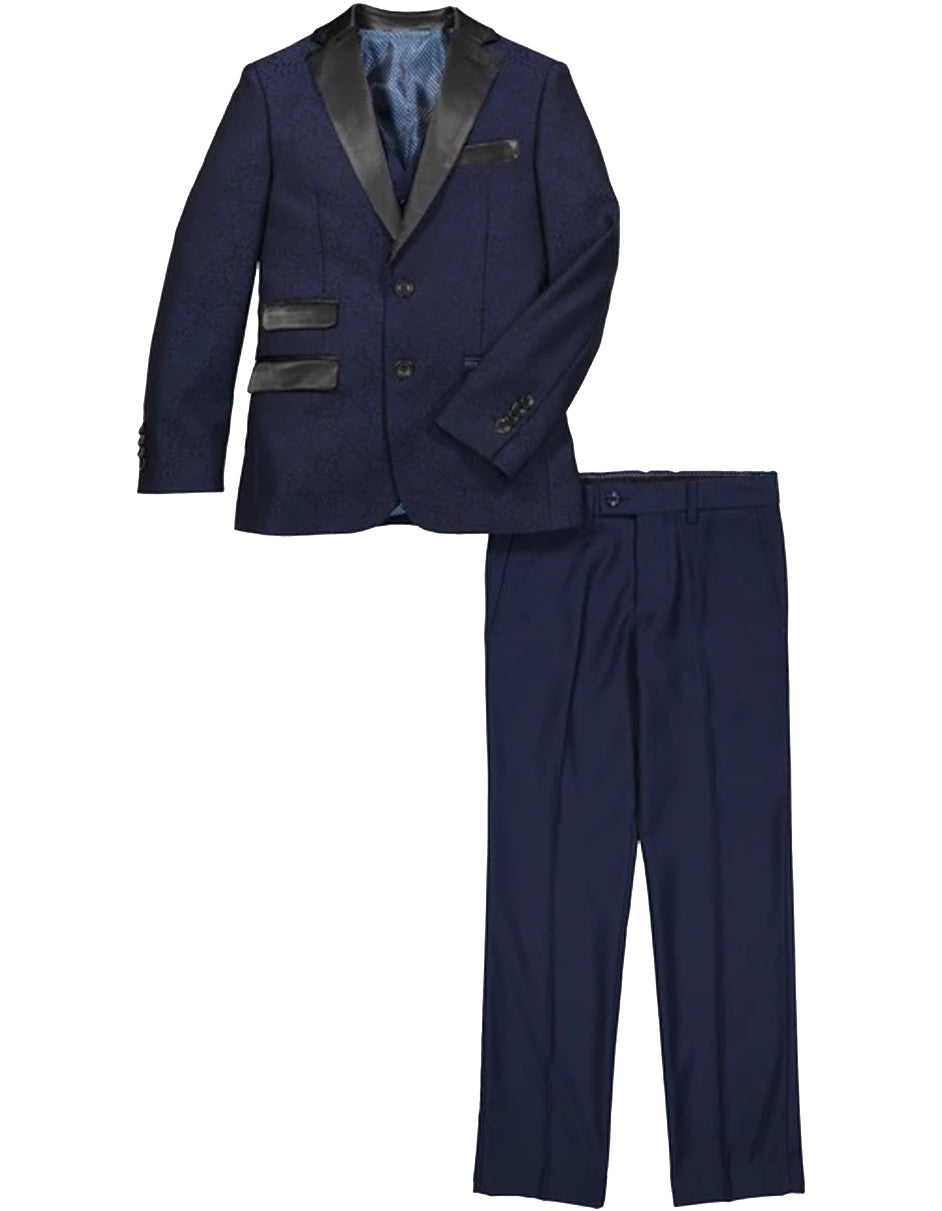 Boys 2 Button Brocade Pattern Tuxedo in Navy