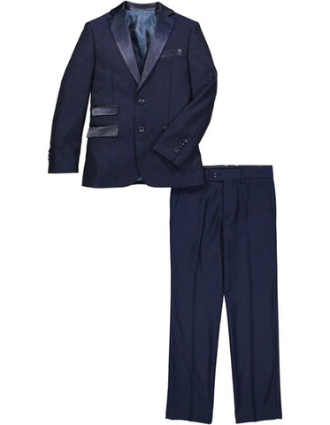 Boys 2 Button Brocade Pattern Tuxedo in Navy with Black Satin Lapel