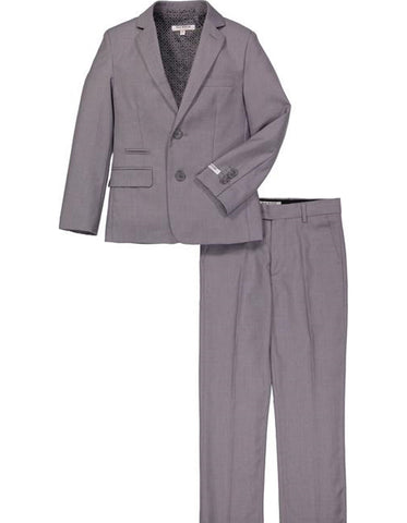 Boys 2 Button Micro Gingham Plaid Suit in Grey