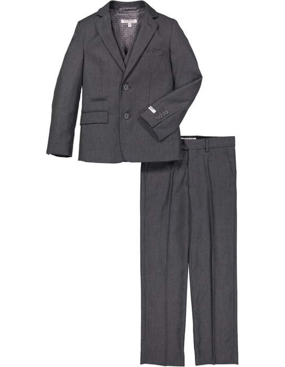 Boys 2 Button Micro Gingham Plaid Suit in Charcoal