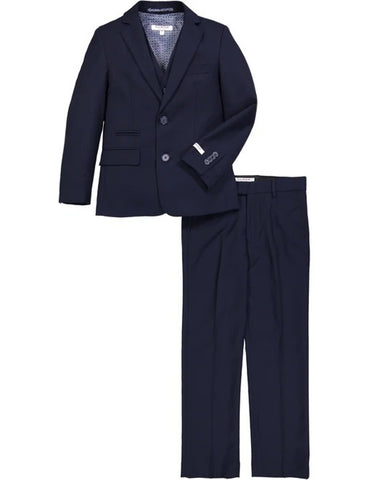Boys 2 Button Micro Gingham Plaid Suit in Navy