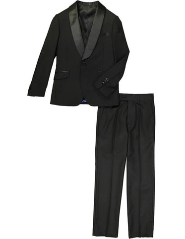 Boys One Button Vested Shawl Tuxedo in Black