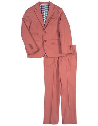 Boys 2 Button Cotton Summer Wedding Suit in Brick