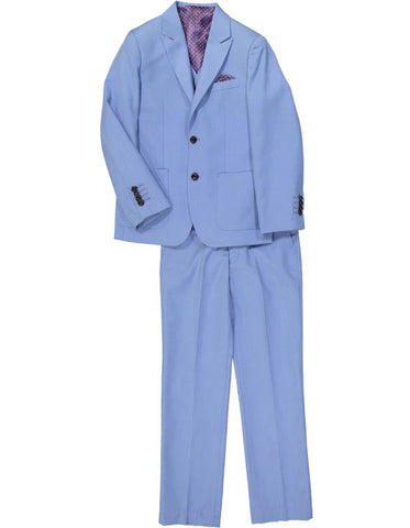 Boys 2 Button Vested Peak Lapel Summer Wedding Suit in Light Blue