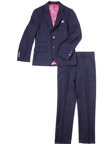 Boys 2 Button 100% Wool Suit in Dark Navy Blue