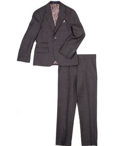 Boys 2 Button 100% Wool Suit in Grey