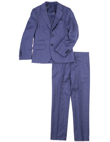 Boys 2 Button 100% Wool Suit in Navy