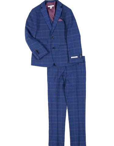 Boys 2 Button Vested Cobalt Blue Windowpane Plaid Suit