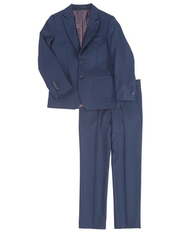 Boys 2 Button Peak Lapel Wedding Suit in Navy
