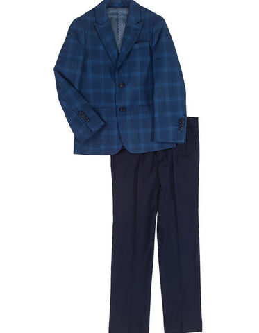 Boys 2 Button Plaid Blazer with Black Pants