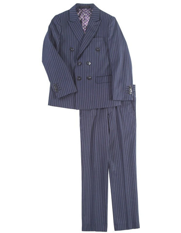 Boys Double Breasted Gangster Pinstripe Suit in Navy