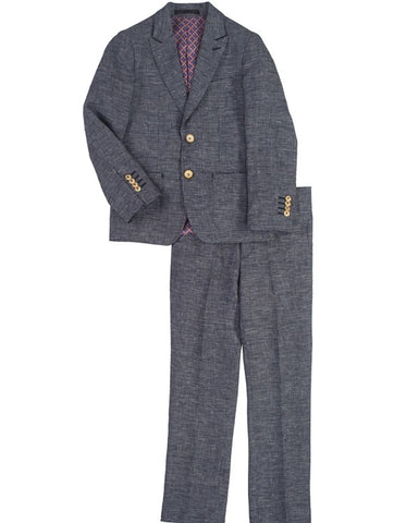 Boys 2 Button Peak Lapel Linen Summer Wedding Suit in Navy