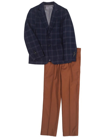 Boys 2 Button Navy Plaid Blazer with Cognac Pants