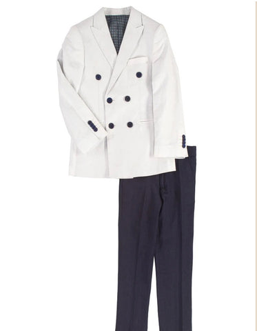 Boys Double Breasted White Summer Blazer with Navy Pants
