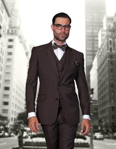 Mens 2 Button Modern Fit Vested Wool Suit in Brown