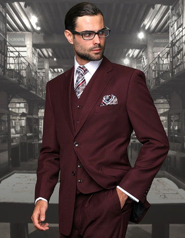 Mens 2 Button Modern Fit Vested Wool Suit in Burgundy